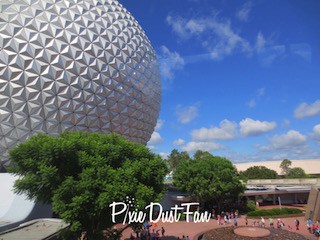 Epcot Spaceship Earth from the monorail